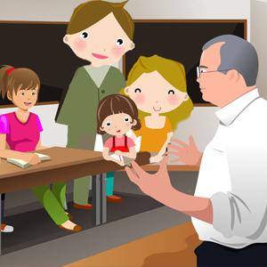 Conferencia de padres y maestros desnudos